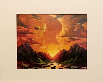 Hawkins Impressionist Southwest Sunset Golden American Art  matted Giclee print on archival 100# heavy stock Gift Sale
