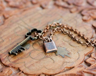 Key Lock Necklace Tiny Lock Charm Four Leaf Clover Key Necklace Shamrock Key Skeleton Key Jewelry - N338