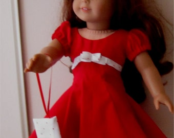 """18"""" Doll Clothes Red White Dress Pillbox Hat Wristlet Purse  3 Piece Outfit Fits American Girl or Similar 18"""" Doll"""