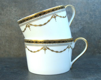 2 Faberge Grand Palais Tea or Coffee Cups, Fine China, Gold Swag, Lattice, Elegant Dining Table, Replacement, no Saucer
