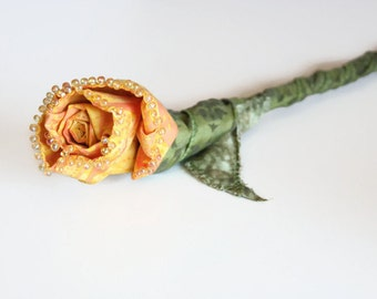 Everlasting Sculpted Fabric Rose Stem, Bridal Bouquet, Yellow Fiber Art Flower Sculpture, Wedding Flowers, Get Well Gift, Floral Centerpiece