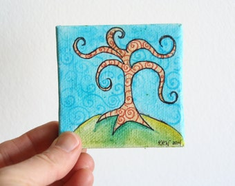 "Miniature Original Painting on Canvas 3"" x 3"", Doll House Art, Watercolor Painting, Mini Art, Whimsical Landscape, Tree Painting, Children"