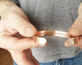 gift bracelet, romantic jewelry, fathers day gift, anniversary, birthday, mens bracelet, loved beyond words, dad, man, copper bracelet