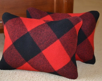 Buffalo Plaid Pillow Covers PAIR - red and black plaid Lumberman WOOL cabin lodge pillow covers shams Rob Roy wool from Portland Oregon
