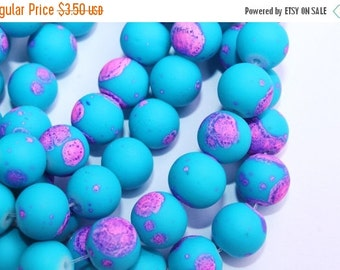 10% off SALE 12mm Rubberized Bright Blue with Neon Pink Splash Paint Beads 32pcs
