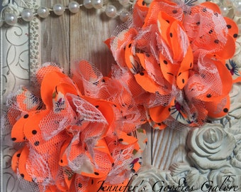 BRIGHT Orange Print Chiffon Flowers with White Lace Set of 2 Gorgeous Shabby Chic Frayed Chiffon and Lace Rose Flowers- 3.5 inch