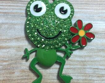 45*35mm, Green Frog Rhinestone Pendant, Frog Pendant, Rhinestone Frog, Chunky Necklace Pendant, DIY Necklace, Frog Pendant, Frog Necklace