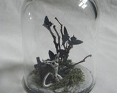 Creepy Gothic Bell - Dome Jar With Gothic Kitty - Cat Graveyard and Skulls Scene