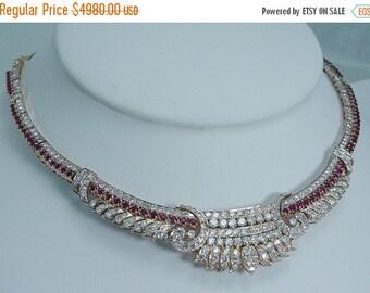ON SALE Royal Vintage 14K Yellow Gold 5.60ct Diamonds 2.88ct Rubies Choker Necklace