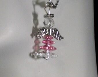 Pink Swarovski Crystal Angel Leverback Earrings w/antiqued Silver wings