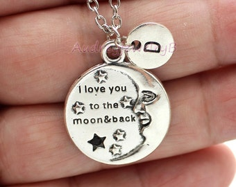Personalized Initial  Moon and Star Necklace Boyfriend GirlFriend gift, Christmas gifts,Couples gift friends gifts