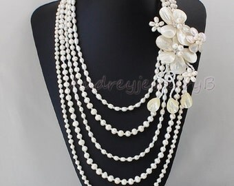 5 Strand Natural Freshwater Baroque Pearl shell Flower Necklace sister gift, friend gift, mothers gift, wedding gift Statement Necklace