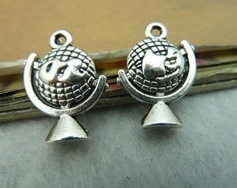 10pcs 15x21mm Antique Silver  Globe Charm Pendant