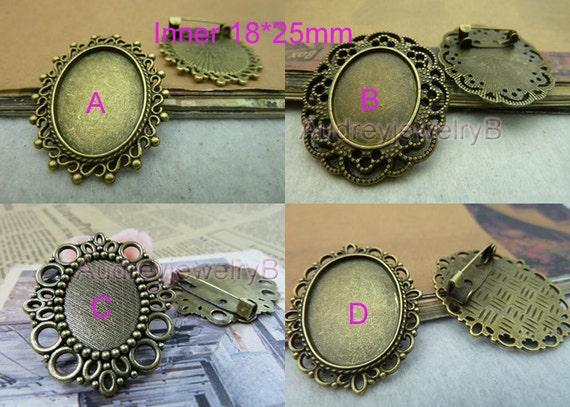 10PCS-Inner 18x25mm Antique Bronze Vintage Cameo Brooch Cabochon Base Settings  brooch, brooch charm, brooch bezel