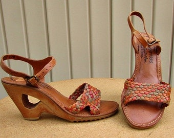 vintage 70s braided leather wood wedge sandals heels 6.5 7 ankle strap cutout heels boho nos free shipping