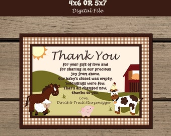 Farm Animals Baby Shower Thank You Card. Barnyard Baby Shower. Barnyard Friends. Baby Farm Animals. Baby Shower Invitation. Cow. Horse. Pig