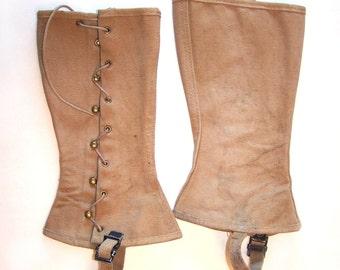 WWII Navy Uniform Khaki Canvas Leggings Brass Hooks