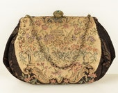 Vintage c.1940 Ladies Woven Tapestry Clutch Purse  Evening Bag with Black Border, Lovely