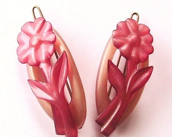 French 1940s Lovely Pink Peach Flowers Hair Clips Barrettes - Lot of 2 - MADE IN FRANCE - New