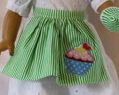 18 inch American Girl Clothes-Green Cupcake Apron with Oven Mitts D017