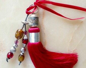 Moroccan accessory - fuchsia art silk tassel - beaded  pendent  - large tassel -  moroccan art