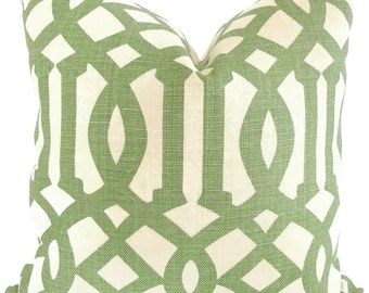 Kelly Wearstler Green Trelliage Imperial Trellis Decorative Pillow Covers Square 18x18, 20x20 or 22x22, 14x20 or 12x24 Euroshams or Lumbar