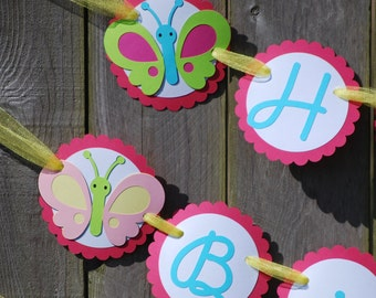 Butterfly Birthday Party Banner, Butterfly 1st Birthday, Butterfly Banner, Butterfly Baby Shower