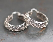 Sterling Silver Hoop Earrings - Filigree - 1""