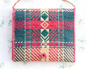 Colorful Woven Wicker Handbag - Vintage Boho Bag