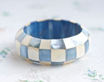 Mosaic Bangle in Sky Blue - Mother of Pearl Checkered - Chunky Boho Bracelet