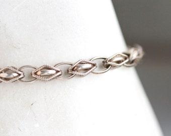 Sterling Silver Links Bracelet - Antique Art deco Jewelry