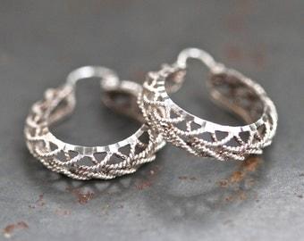 """Sterling Silver Hoop Earrings - Filigree - 1"""""""