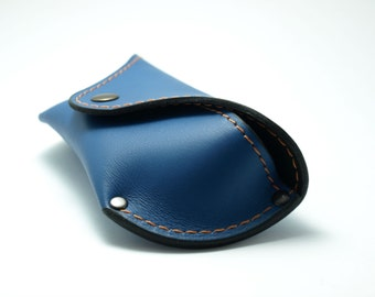 Elegant handmade blue leather case to be able to fit Ray Ban or Aviator which is about 15cm length Reading glass covers,initials,by TIZART