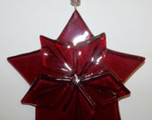 Star Burst 10 Points Red Fused Glass Ornament