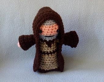 Made to order, Hand crocheted Star Wars Obi Wan Kenobi like doll with Cloak Amigurumi Doll