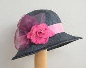 RESERVED - Miss Fisher straw summer hat / wide brim straw summer / elegant cloche hat / Downton Abbey hat for women,  30s dress hat