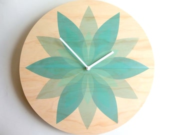 Objectify Leafy Turquoise Wall Clock - Large