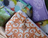 Small canvas /cotton lined cosmetic pouch/ make-up bag/Handmade ceramic and beaded zipper pull
