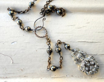 Rhinestone Lariat Necklace, Y, Assemblage, Paste, Sterling Silver, Bronze, Pyrite, Rustic, Boho, Vintage Repurposed, Upcycled, Recycled