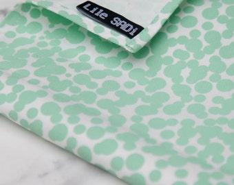 Set of 2 Graphic Tea Towels DOTS yellow & mint . tea towel hand printed on natural cotton: patterned design