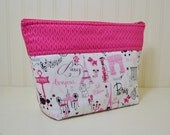 Paris Theme Cosmetic Bag - Eiffel Tower Stand up Makeup Bag - Medium Toiletries Zipper Pouch - Pink Project Bag - Polka Dots - Dog Lover