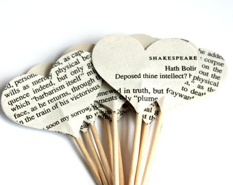 12 Shakespeare Cupcake Toppers, Vintage, Romantic Cake Topper, Bibliophile, Wedding Decoration