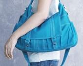 Winter Sale 15%off ASTER  // Teal / Lined with Beige / 014 // Ship in 3 days // Messenger / Diaper bag / Shoulder bag / Tote bag / Purse / G