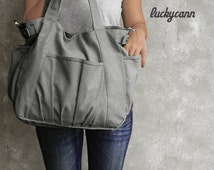 Summer Sale 20% OFF// IRIS // Dark Grey / Lined with Beige / 051 // Ship in 3 days // Messenger / Diaper bag / Shoulder bag / Tote bag / Pur