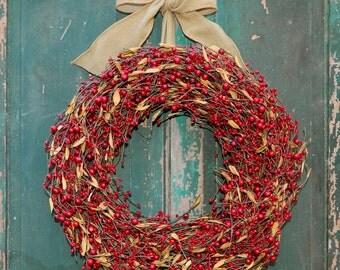 Valentine Wreath - Door Wreath - Burlap Wreath- Holiday Gift - Choose Bow