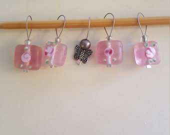 Butterfly and Pink Knitting Stitch markers