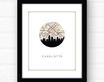 Charlotte, NC | Charlotte skyline art | Charlotte map print | North Carolina art | Charlotte poster | vintage map art | travel prints