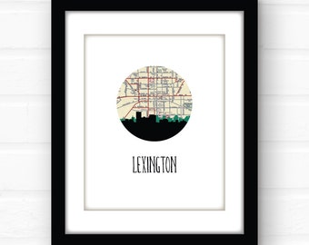 Lexington, Kentucky art print | Kentucky home decor | Lexington, KY map art | Kentucky university art print | college dorm decor