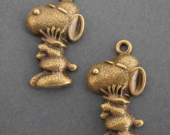 "4pcs-1.25"" snoopy charm-Antique brass  tone Snoopy Charm"