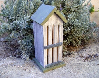 BUTTERFLY HOUSE, Rustic Sage and White. Insect Hotel, Bug House. Hand Made, Hand Painted. Ready to Ship